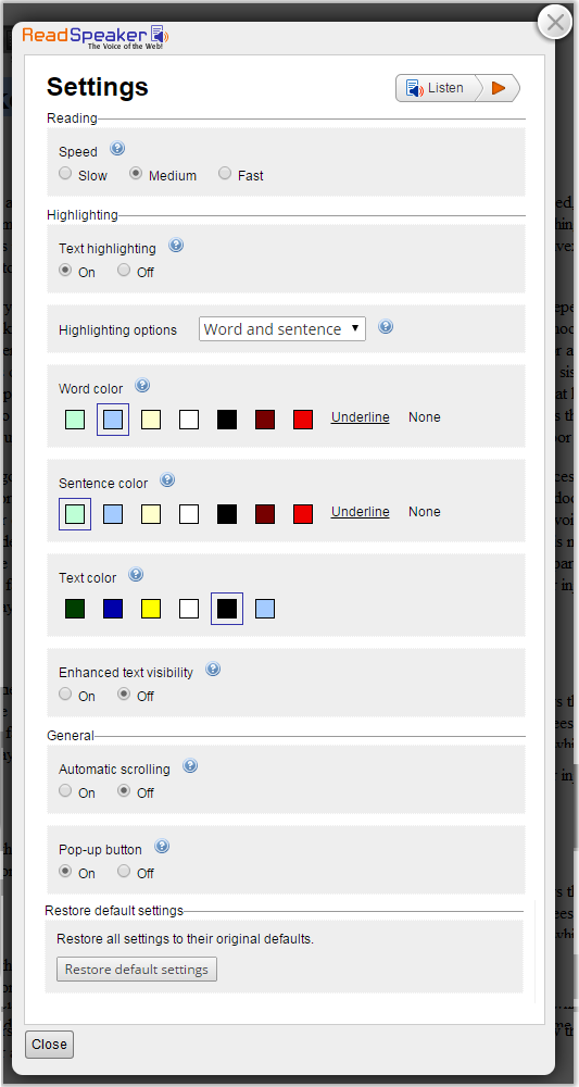 screenshot of read speaker settings